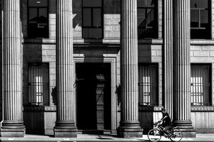 Bicycle in front of Corinthian columns