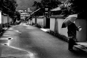 Umbrella in rainy street