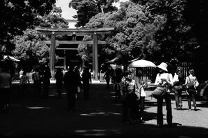 People walking approach way in Meiji Jingu