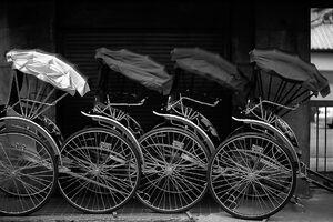 Rickshaw being parked