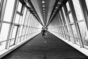 ガラス張りの渡り廊下を歩く男