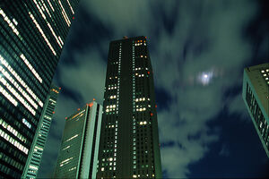 Moon between skyscrapers in Shinjuku
