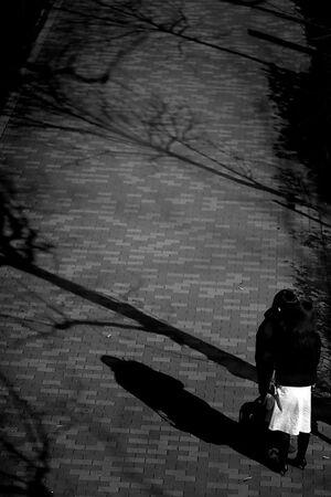 Couple standing on sidewalk
