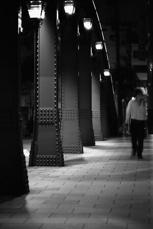 figure on Yanagi-Bashi bridge