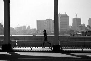 橋の上を走る男