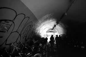 Silhouettes in tunnel
