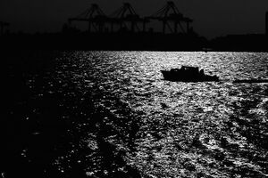 Silhouetted boat