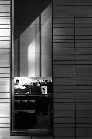 long and thin window of restaurant