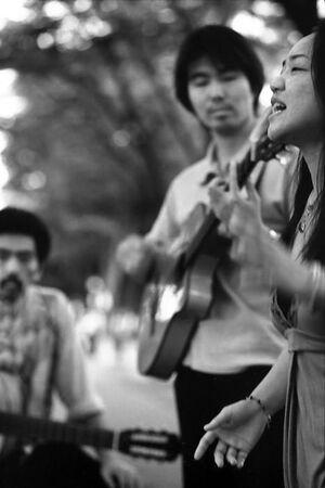 Street musician singing