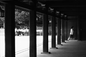 Wooden pillars in Shinto shrine