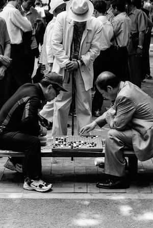 Men Playing Go in park