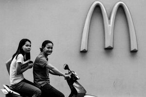 Mother, daughter, Golden Arches