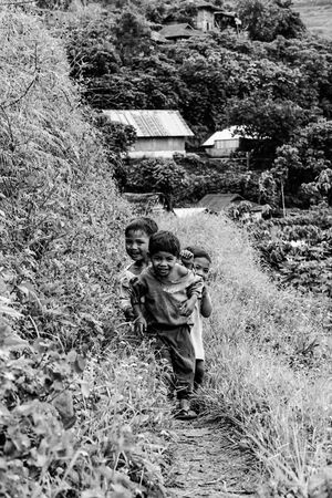 Kids at the end of the mountain path