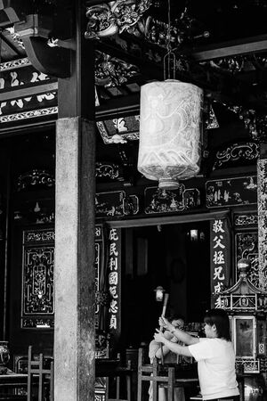 Worshipers praying in Cheng Hoon Teng Temple