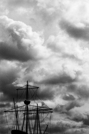 Silhouette of old sailing ship