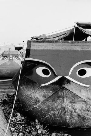 Eyes drawn on bow of ship