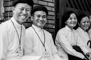 Caodaiists smiling