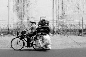 沢山の荷が載せられた自転車