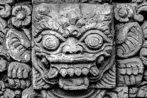 Awful face in Hindu temple