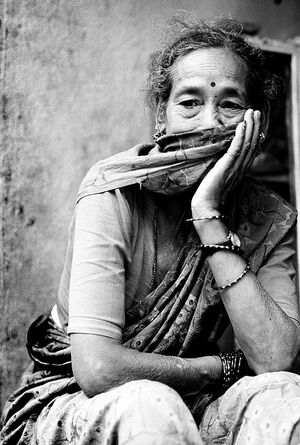 Woman in gloomy mood