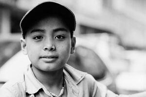 Boy with double eyelids