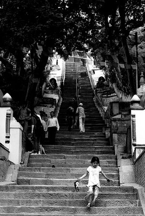 Girl descending steep stairway