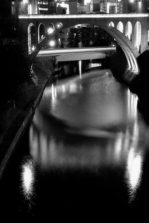 Illuminated Hijiri-bashi bridge