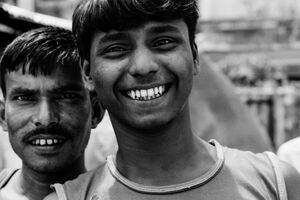 Man smiling choppily