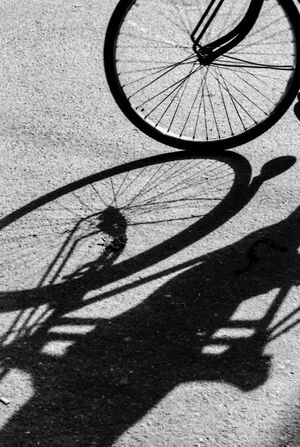 Silhouette and shadow of cycle rickshaw