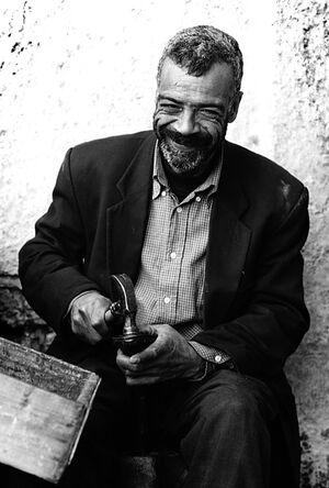 Shoemaker smiling
