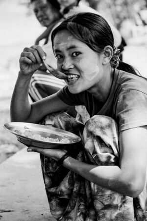 Woman having lunch