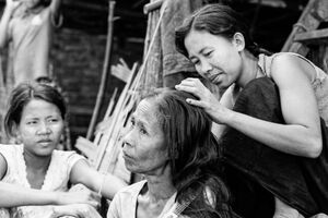 Woman soothing hair