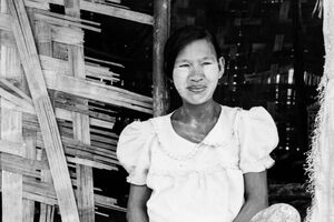 Woman with whitened face