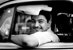 taxi driver smiling