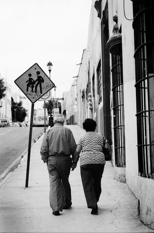Old couple walking hand to hand