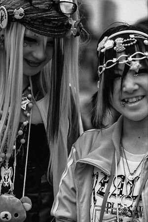 Smiling girls in punk fashion