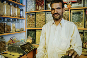 Man working in spice store