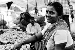 Woman smiling in market