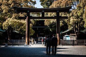 Businessmen in Meiji Jingu