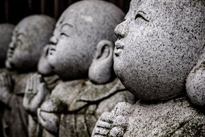 Jizo statue smiling