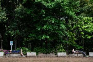 Men taking a nap on bench