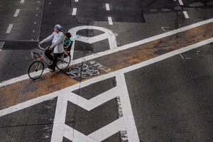 Bicycle running bicycle lane
