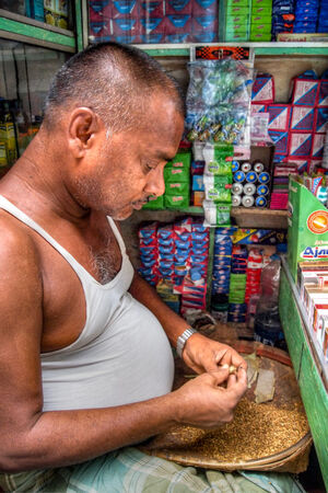 Tobacconist making cigarettes