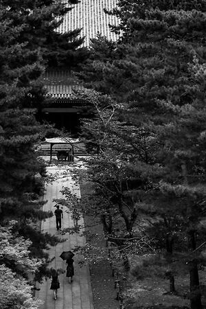 Worshipers heading for main hall in Nanzen-Ji