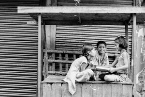 Kids playing on stall