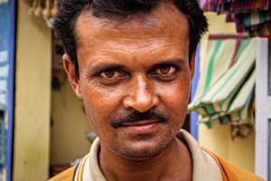 Man casting sharp glance