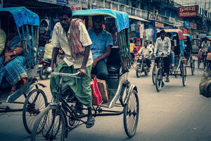 Cycle rickshaws running