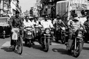 Motorbikes running