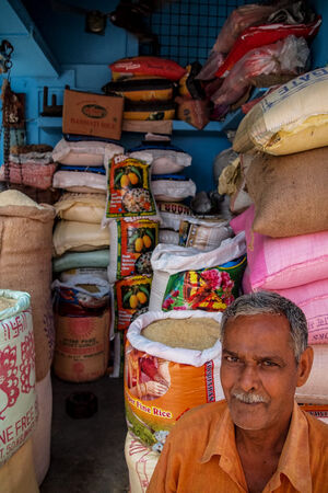 Man working in rice shop