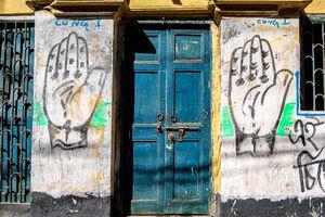 Door and palms